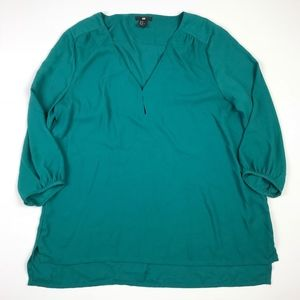 H&M Womens V-Neck Tunic Blouse 3/4 Sleeve 14 #232